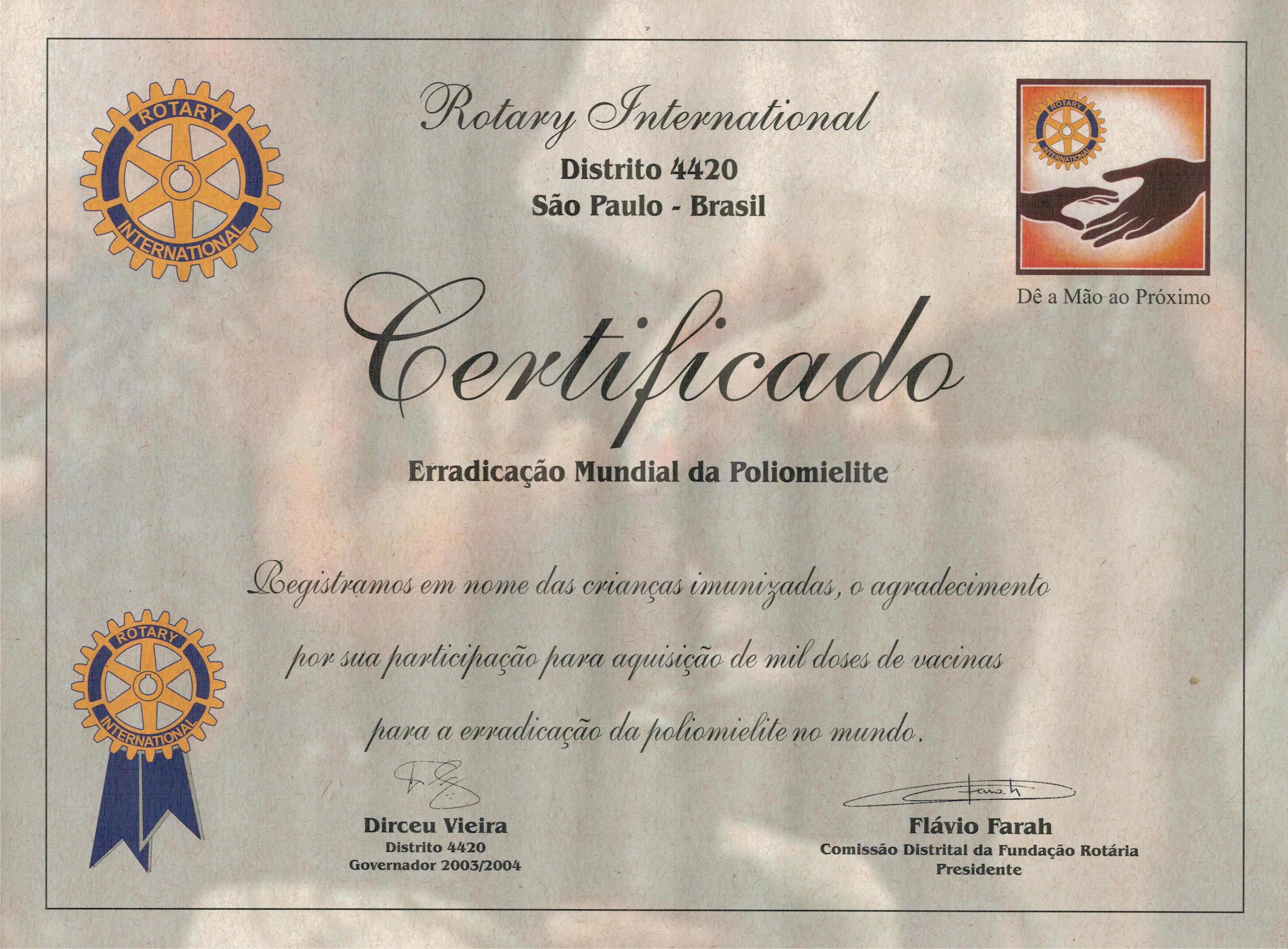 Certificado Rotary por ajudar na erradicação da poliomielite